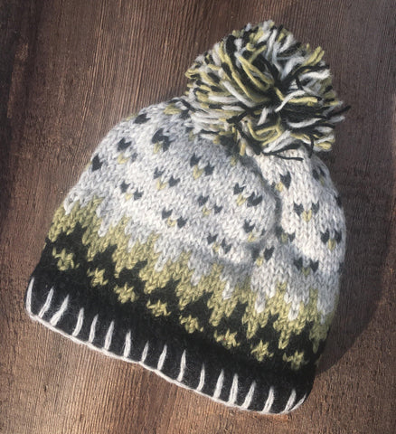 Australian Merino Wool Fair Isle Bobble Hat