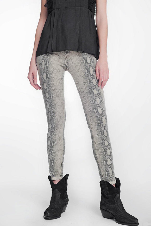 Beige Super Skinny Reversible Pants With Snake Print