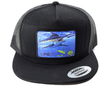 Load image into Gallery viewer, LPG Apparel Co. Mark Ray Blue Marlin Bill Buster Classic Snapback Flat Brim Trucker Fishing Hat, Offshore Fishing Hat, Big Game Fishing Hat, Lobo Lures Hat, MArlin Hat, Marlins Hat, Blue Marlin Hat Dorado Hat, Fishing Baseball Hat, Fishing Baseball Cap