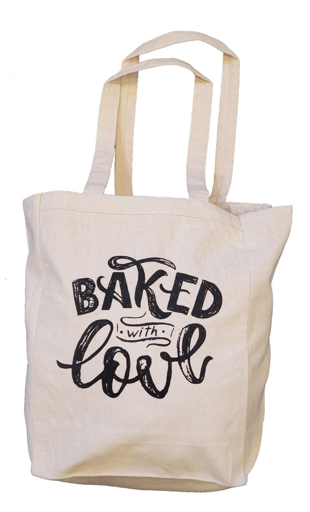 Ink Trendz® Baked With Love Handwritten Font Farm Fresh Made With Love Farmers Market 10oz. Natural Canvas Cotton Tote, Canvas Farmers Market Tote, Tote Bags, Reusable Grocery Bags