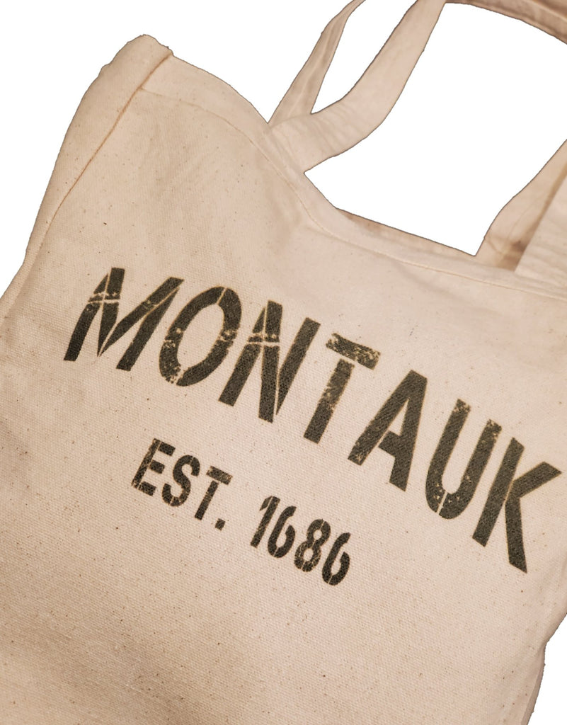 Ink Trendz® Montauk Grunge Stencil Est 1686 10oz. Natural Canvas Cotton Tote, Reusable Tote Bags, Reusable Grocery Bag, Long Island Tote, Boat Tote, Fishing Tote, Preppy Tote bag, Preppy Tote