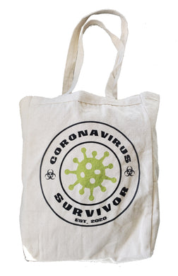 Ink Trendz® Coronavirus Survivor est. 2020  COVID-19 10oz. Natural Canvas Cotton Tote