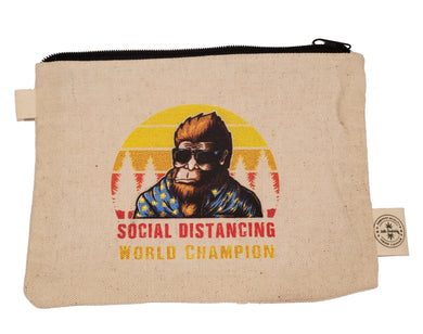Ink Trendz® Bigfoot Social Distancing World Champion Novelty Zipper Hemp Pouch Bag