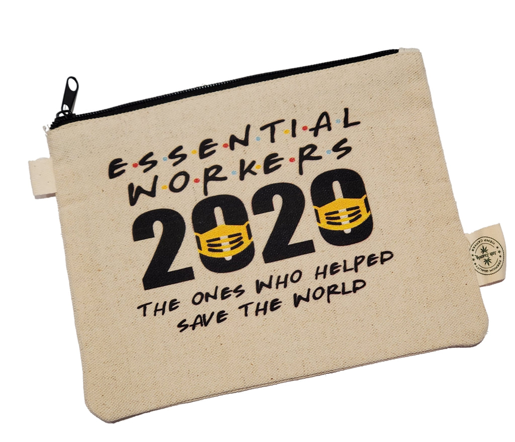 "Ink Trendz Essential Workers 2020 Coronavirus Pandemic Makeup Bag, Pencil Pouch Hemp Canvas Zipper Pouch 7"" x 9"", Essential worker gift, essential workers, Essential Heros"