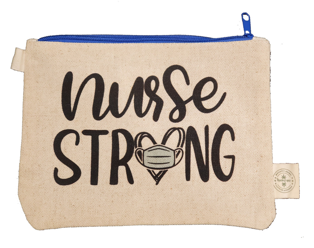 Ink Trendz®  Nurse Strong Novelty Gift Zipper Hemp Pouch Bag Nursing Gift Bag, ICU Nurse Bag, Oncology