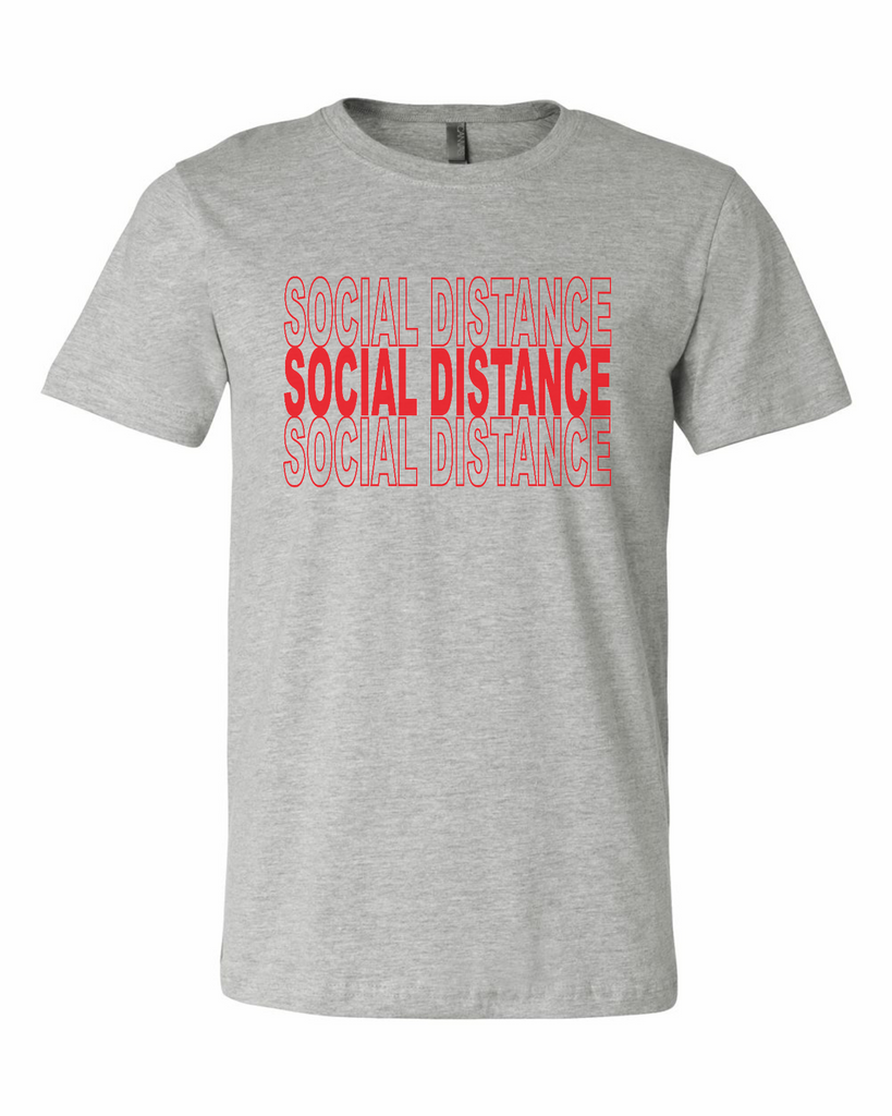 Ink Trendz® SOCIAL DISTANCE Shopping Themed est. 2020 Funny Covid-19 Coronavirus T-Shirt in Heather Grey
