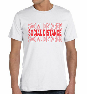Ink Trendz® SOCIAL DISTANCE Shopping Themed est. 2020 Funny Covid-19 Coronavirus T-Shirt in white