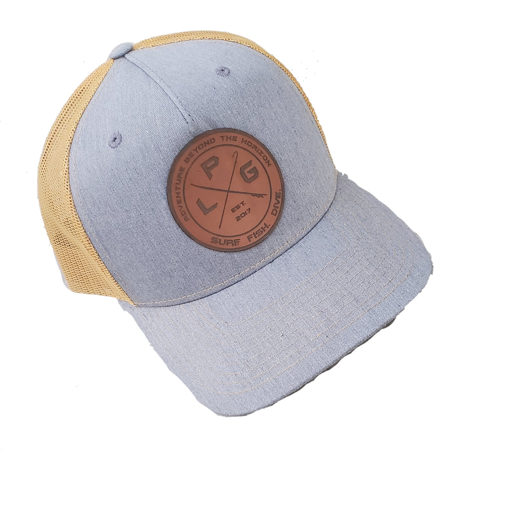 LPG Apparel Co. Crossed Gaff & Surfboard Surf. Fish. Dive. Signature Leather Patch Baseball Hat Col. Heather Grey Amber Gold Richardson 115FP Five Pannel Hat, Fishing Hat, Surf Hat, Surf Apparel, Fishing Apparel, Fishing T-Shirt, Surf Hats, Dive Hat, Diving Hat, Dive Apparel