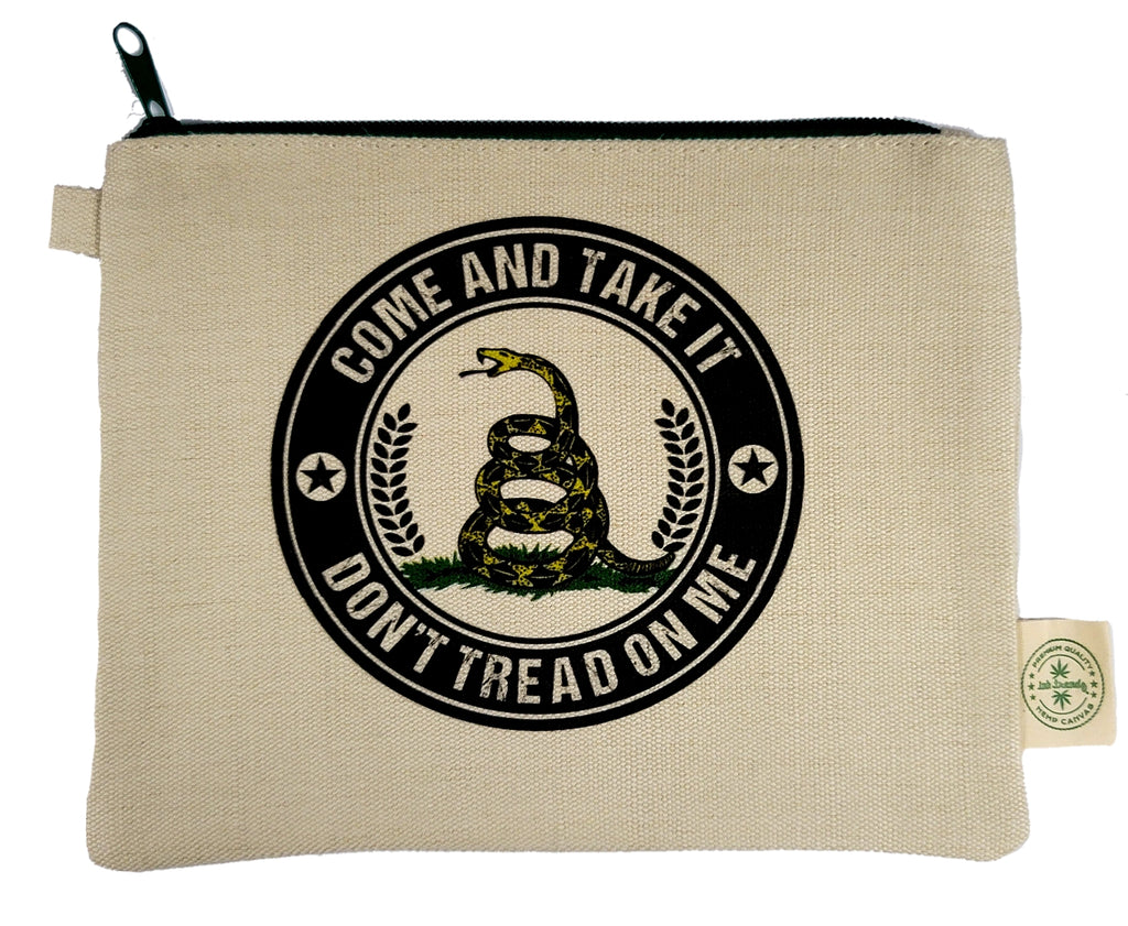 Ink Trendz® Don't Tread On Me Come & Take It Gadsden Hemp Canvas Zipper Pouch Bag, Patriotic Makeup bag, Patriotic small tools Bag