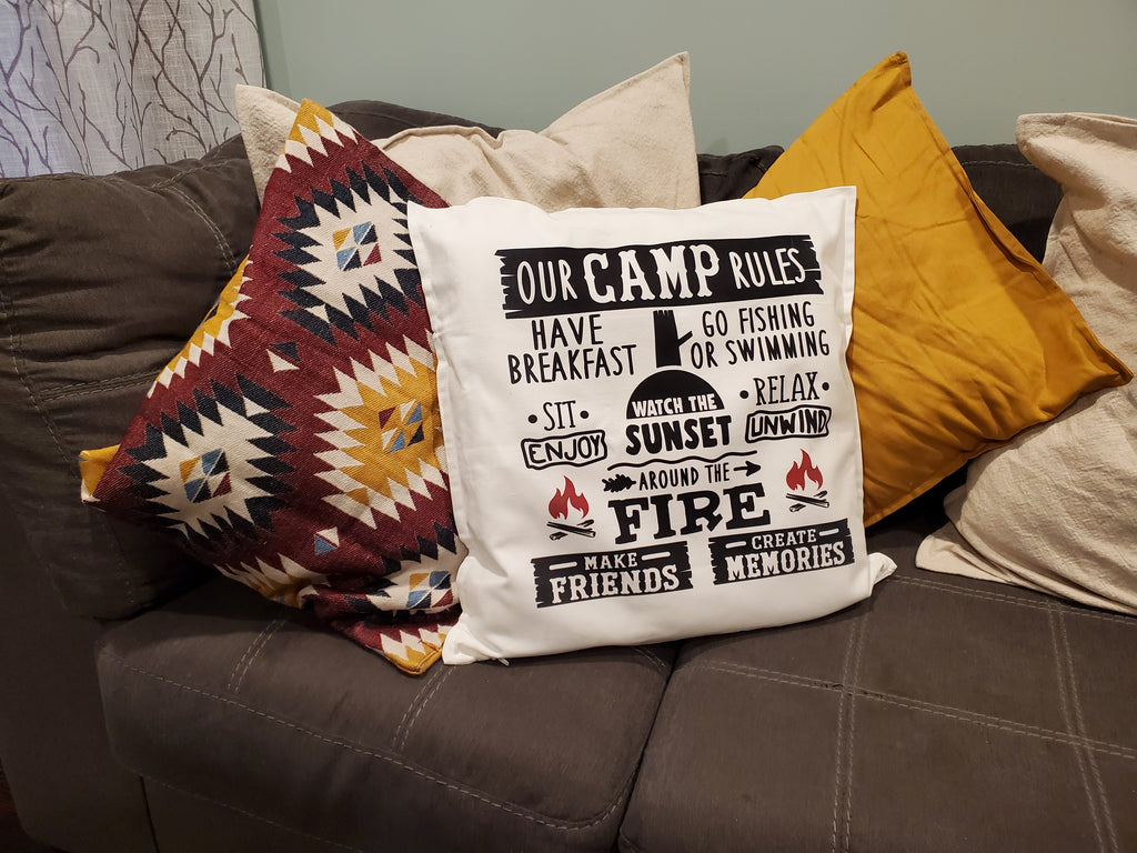 Our Camp Rules Throw Pillow Home Decor Staged