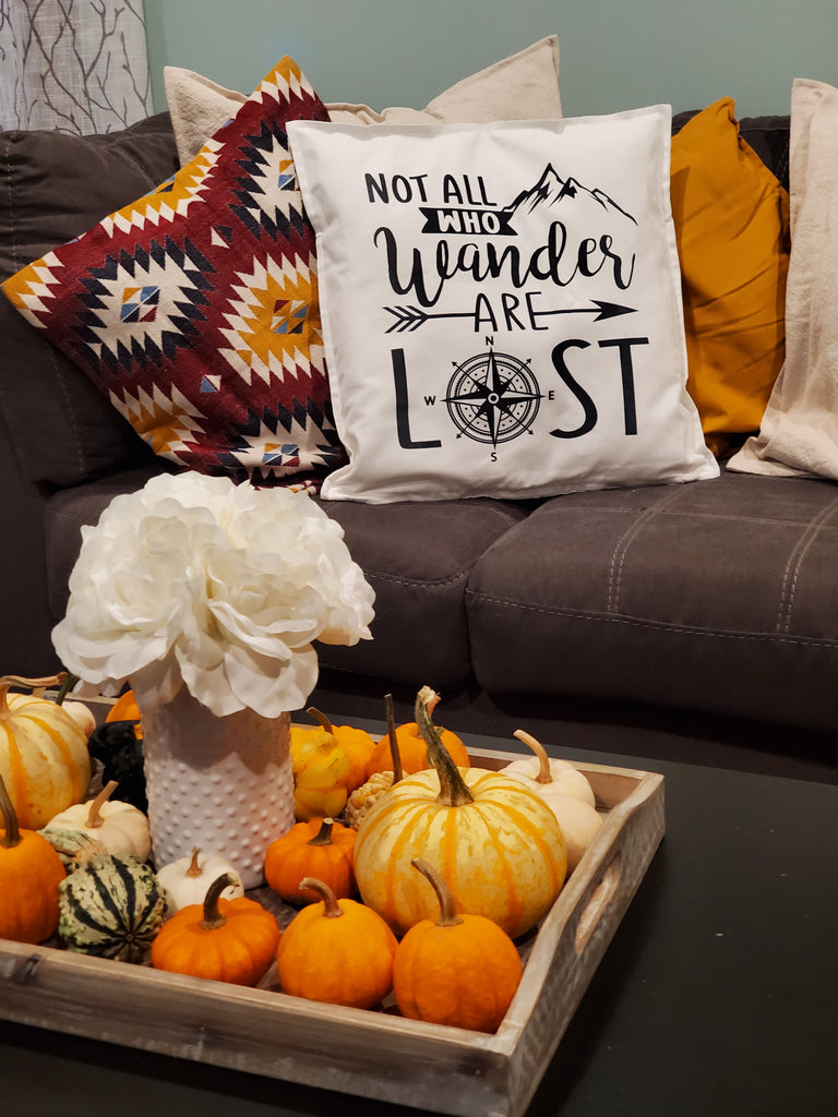 Not All Who Wander Are Lost Compass Adventure Throw Pillow Home Decor