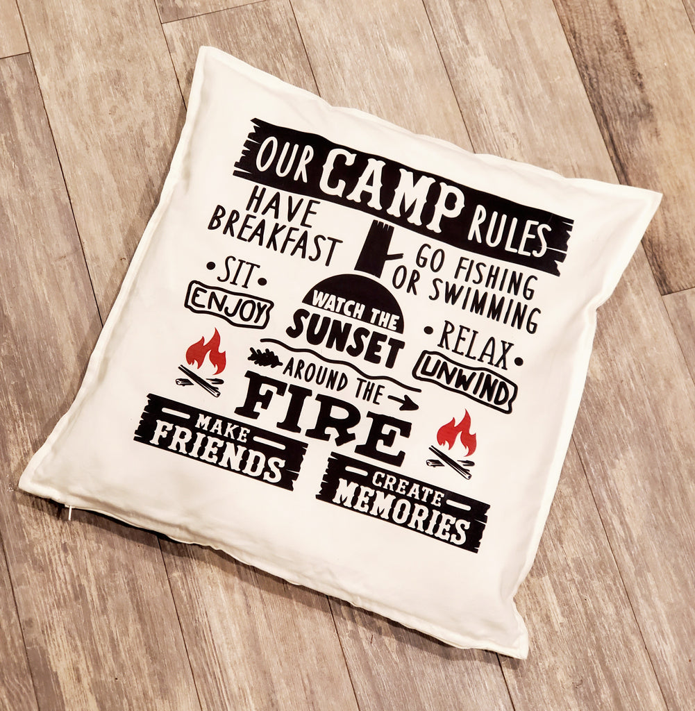 Our Camp Rules Throw Pillow Home Decor Farm House