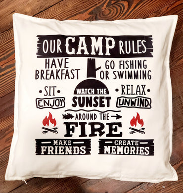 Our Camp Rules Throw Pillow Home Decor