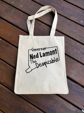 InkTrendz® Governor Ned Lamont The Despicable Connecticut 12oz. Natural Canvas Cotton Reusable Grocery Bag Market Place Tote