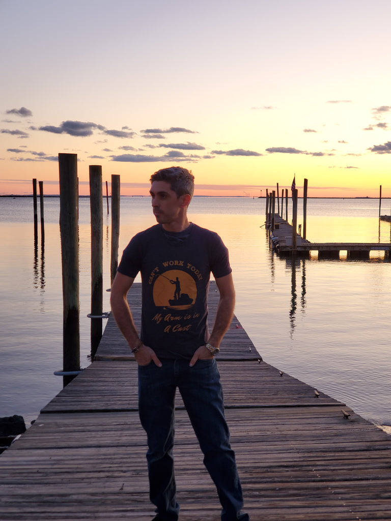 My arm is in a cast Fishing T-Shirt during a Sunset photo shoot