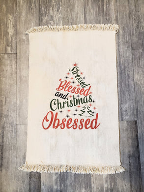 Ink Trendz® Stressed Blessed and Christmas Obsessed Flat Woven Natural Cotton Rug