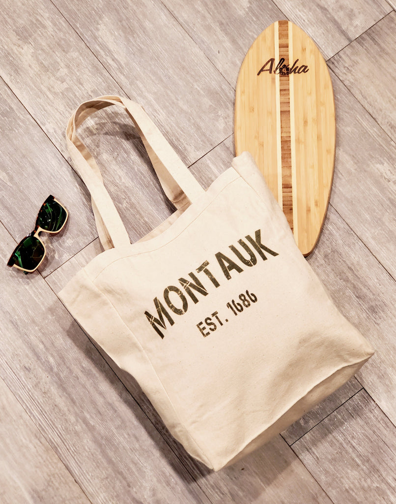 Ink Trendz® Montauk Grunge Stencil Est 1686 10oz. Natural Canvas Cotton Tote, Reusable Tote Bags, Reusable Grocery Bag, Long Island Tote, Boat Tote, Fishing Tote, Preppy Tote bag, Preppy Tote with Costa and cutting board props