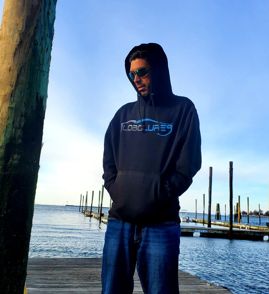 Lobo Lures Signature Logo Sport Fishing Mid-Weight Hoodie Sweater, Fishign Hoodies, Fishing T-Shirt Wearing Costa Sunglasses at the Marina