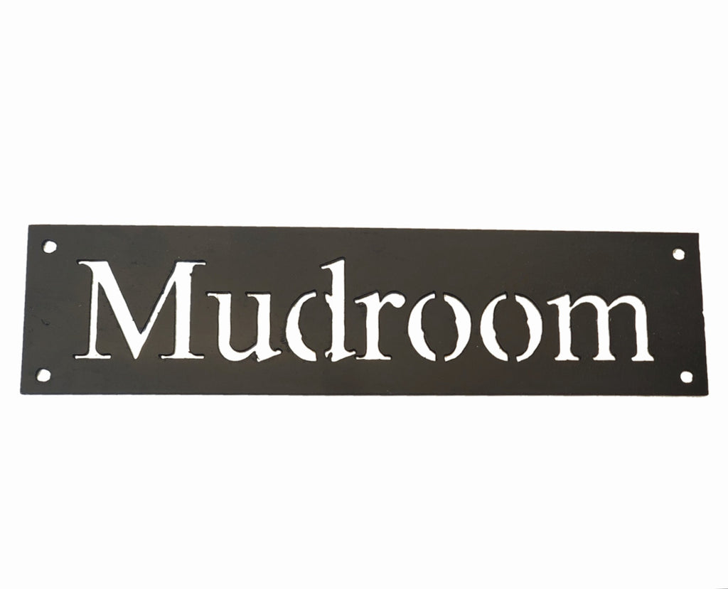 "Ink Trendz® Mudroom Handmade Metal Sign 12"" x 3"" Home Decor Matte Black Metal Mudroom Signs, Metal Home Decor, Mudroom Decor"