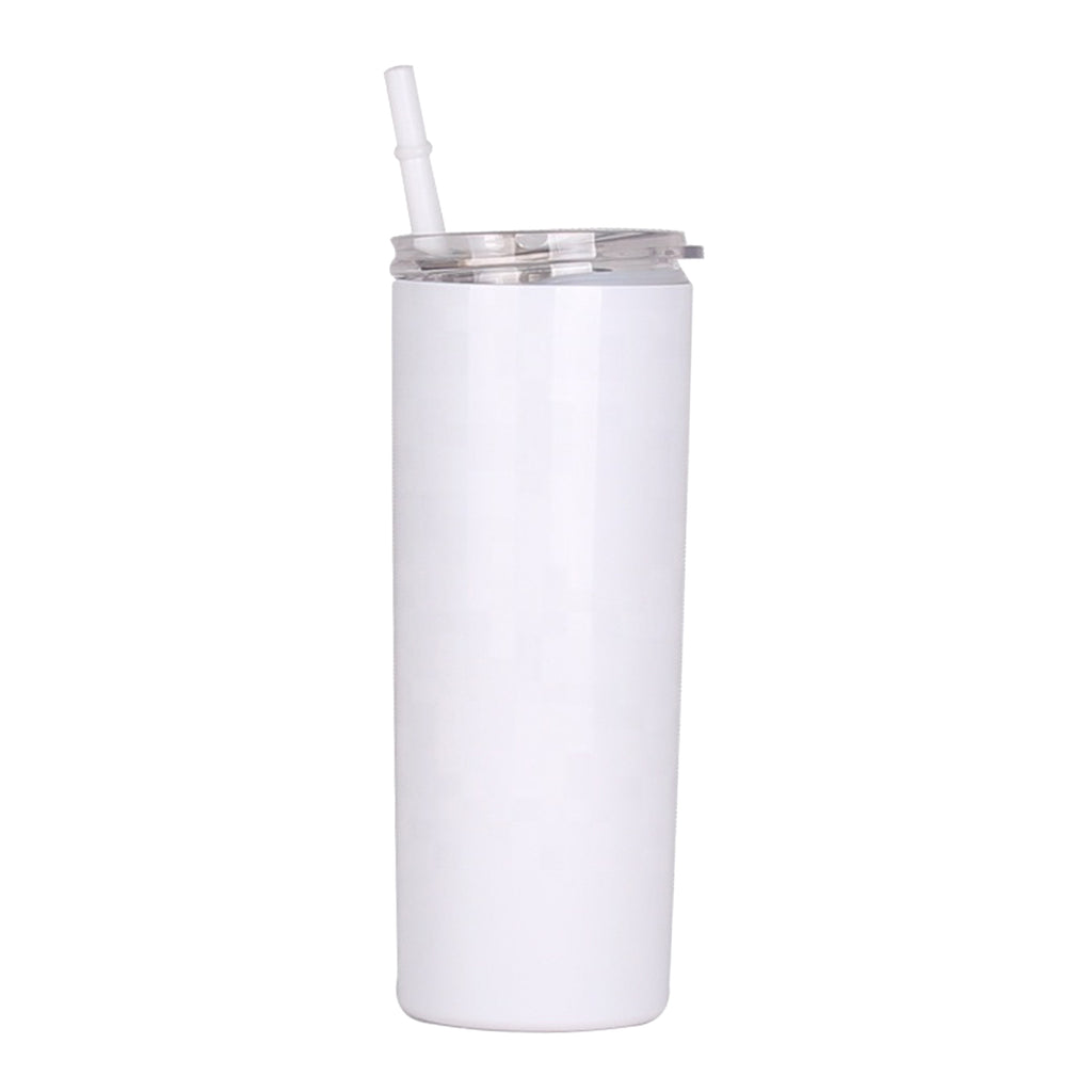 Blank STRAIGHT 20 oz Gloss White Sublimation Tumbler (Non-Tapered) with Straw and Heat-shrink
