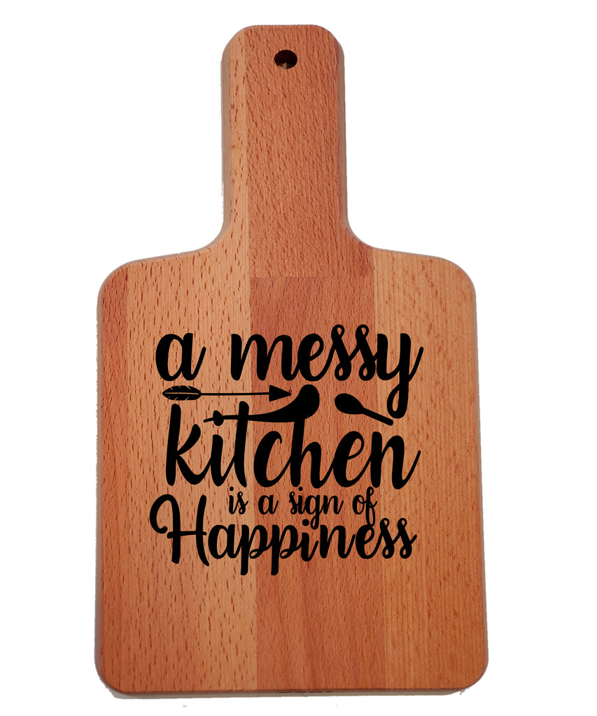 Ink Trendz A Messy Kitchen is a Sign of Happiness Decorative Charcuterie Cheese Cutting Board