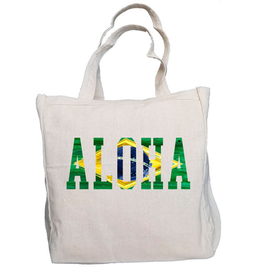 Ink Trendz® Brazil ALOHA Brasil Surf. Fish. Dive.  10oz. Natural Canvas Cotton Tote, Reusable Shopping tote bag, Farmers market tote bag, Beach Bag, Surf Bag