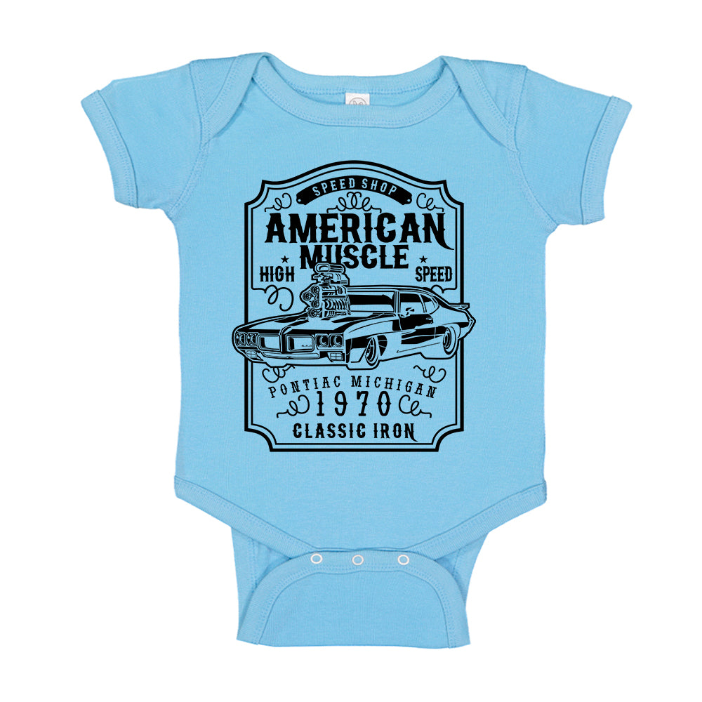 American Muscle Pontiac GTO Speed Shop 1970 Baby Bodysuit
