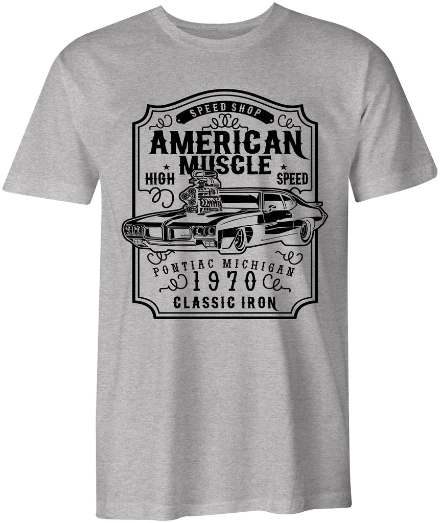 Ink Trendz American Muscle Pontiac GTO Classic Iron 1970 T-shirt In Military Green, American Racingg, Racing T-Shirt