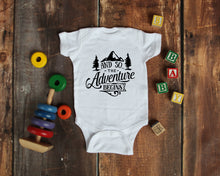 Load image into Gallery viewer, Ink Trendz® And So The Adventure Begins Baby Pregnancy Announcement Baby Bodysuit One piece Romper Baby announcement, pregnancy Reveal