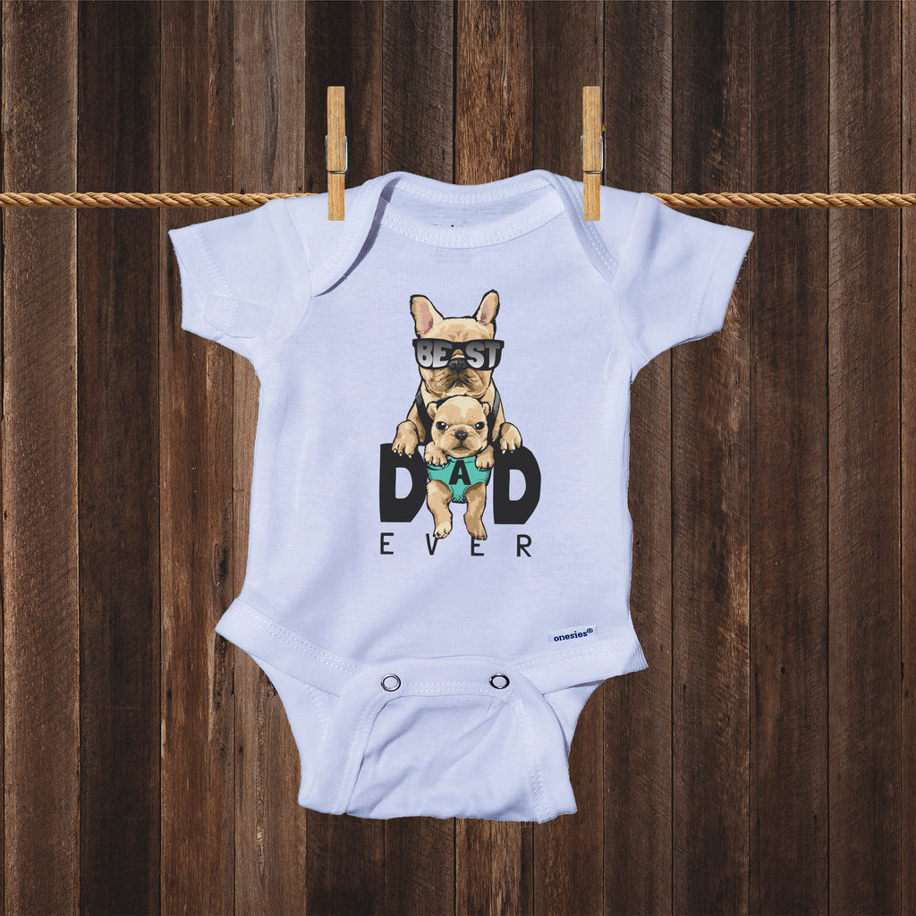 Ink Trendz Best Dad Ever Cute Pug Puppy Baby Bodysuit