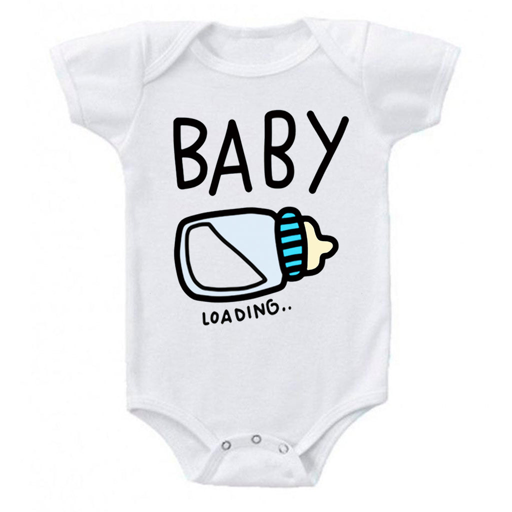 Ink Trendz Baby Loading Baby Boy Bottle Pregnancy Reveal Announcement Baby Romper Bodysuit, Baby Announcement Onesie, Baby Pregnancy Reveal Onesie
