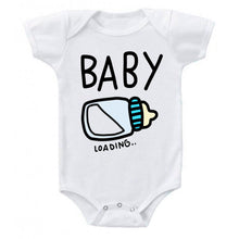 Load image into Gallery viewer, Baby Loading Baby Boy Bottle Pregnancy Reveal Announcement Baby Romper Bodysuit