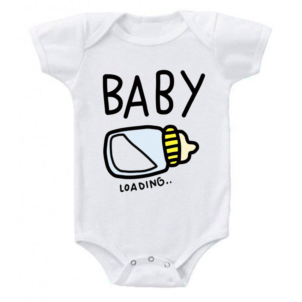 Baby Loading Unisex Bottle Pregnancy Reveal Announcement Baby Romper Bodysuit