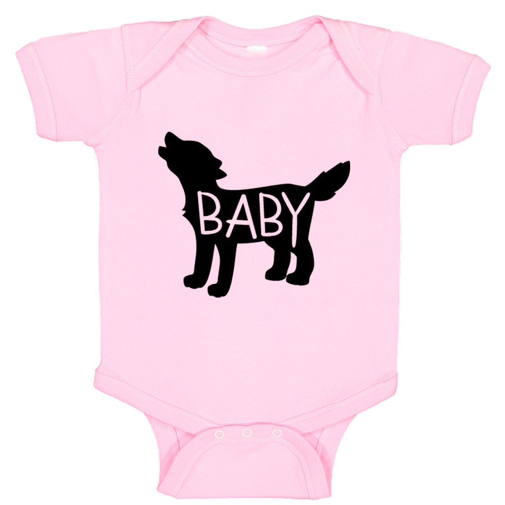 Ink Trendz®  Baby Wolf Cute Announcement Baby Bodysuit One piece Romper