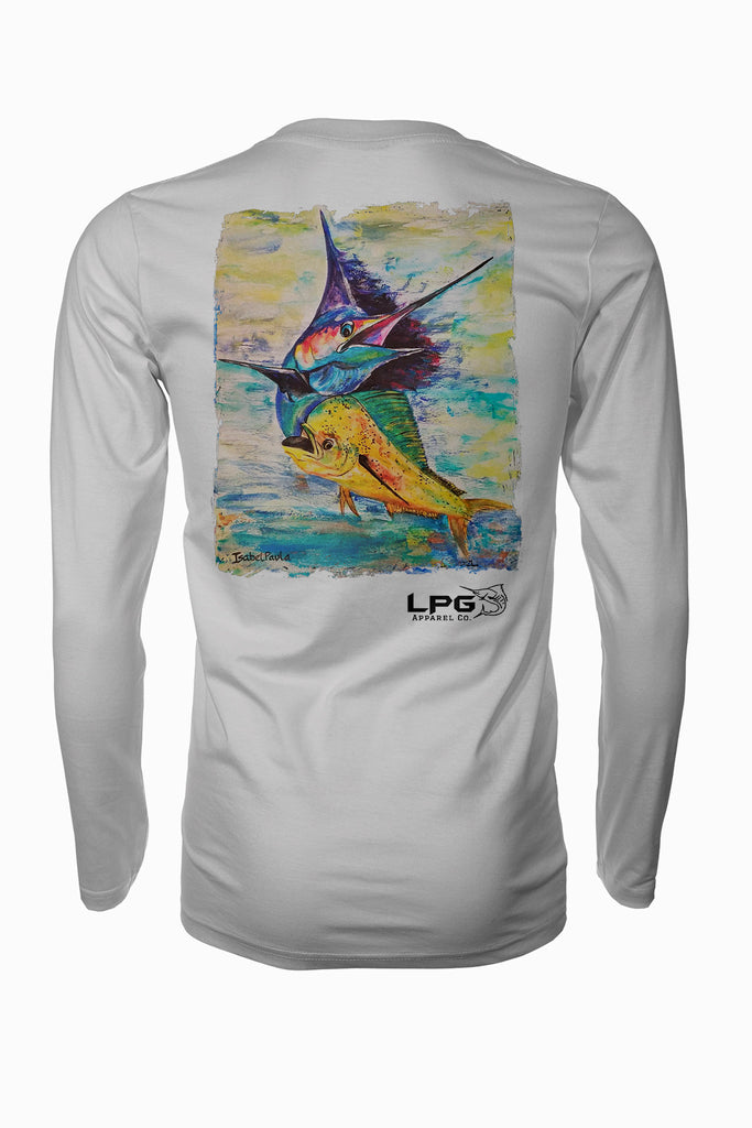 Mahi Billfish Combo  Long Sleeve Fishing Shirt for Unisex UPF 50 Dri-Fit Performance Rashguard T-Shirt