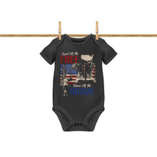 Load image into Gallery viewer, Land of the Free Home of the Brave Patriotic Flag Baby Romper Bodysuit A