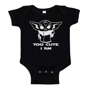 Ink Trendz® Too Cute Am I Baby Yoda Funny Baby One-Piece Bodysuit
