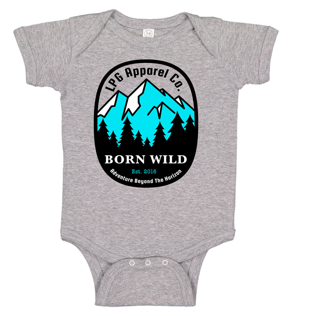 LPG Apparel Co. Born Wild Adventure Mountineer  Baby Bodysuit
