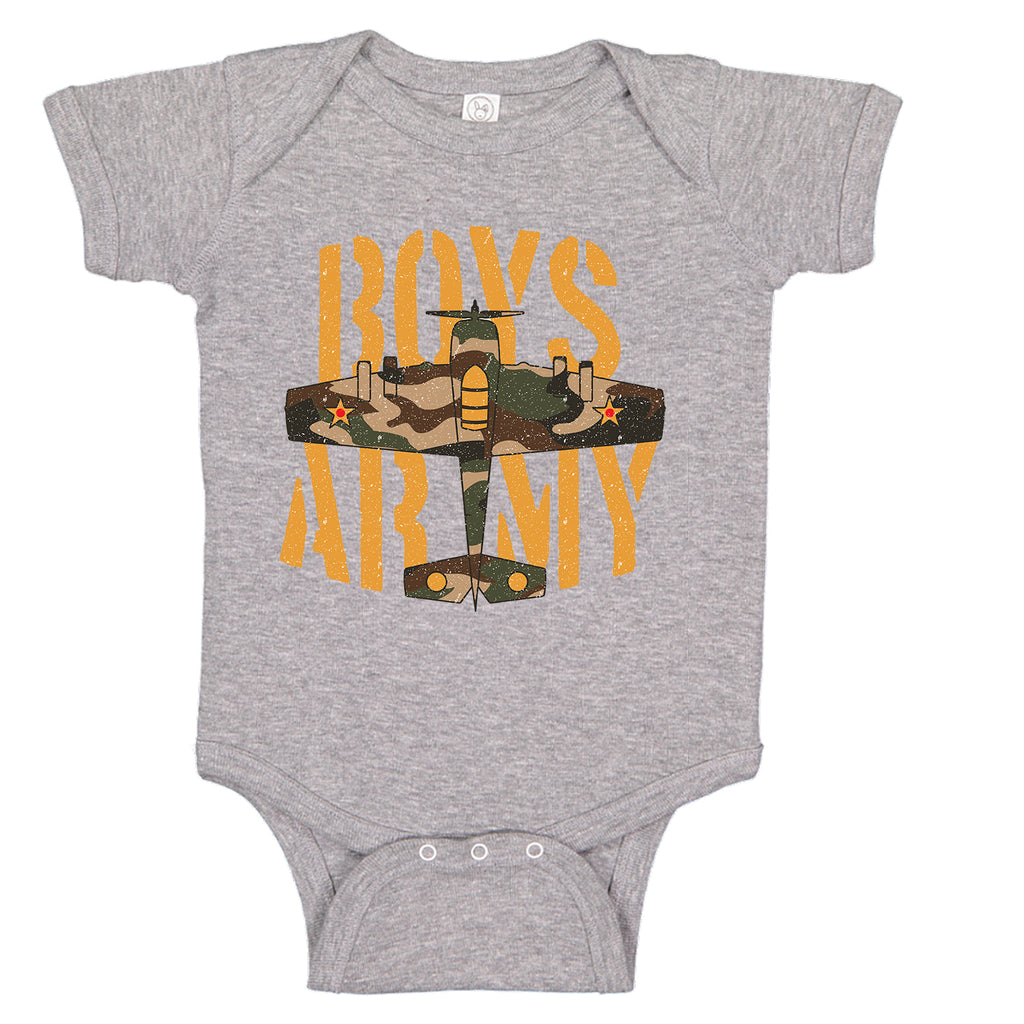 Ink Trendz® Boys Army WWII Fighter Plane Infant Bodysuit Romper