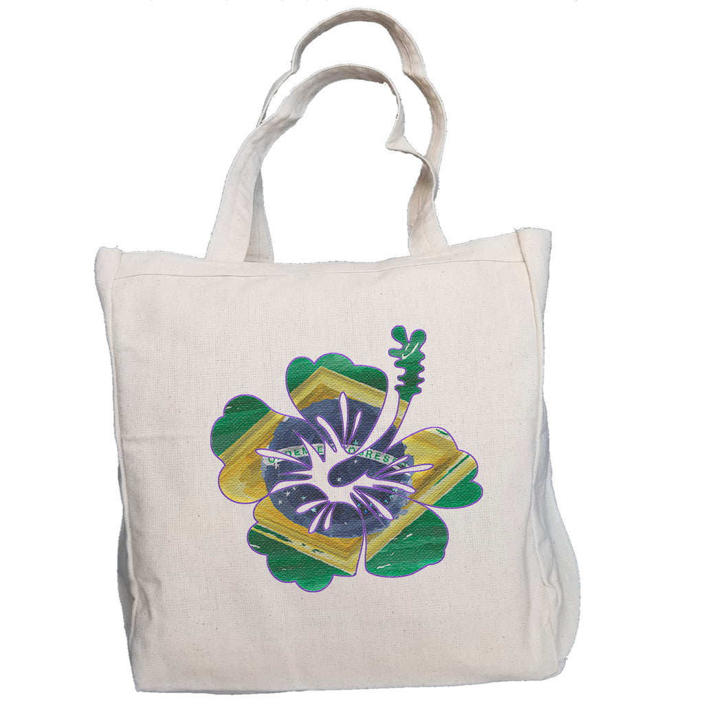 Ink Trendz® Brazil Tropical Flower Brasil Surf. Fish. Dive.  10oz. Natural Canvas Cotton Tote