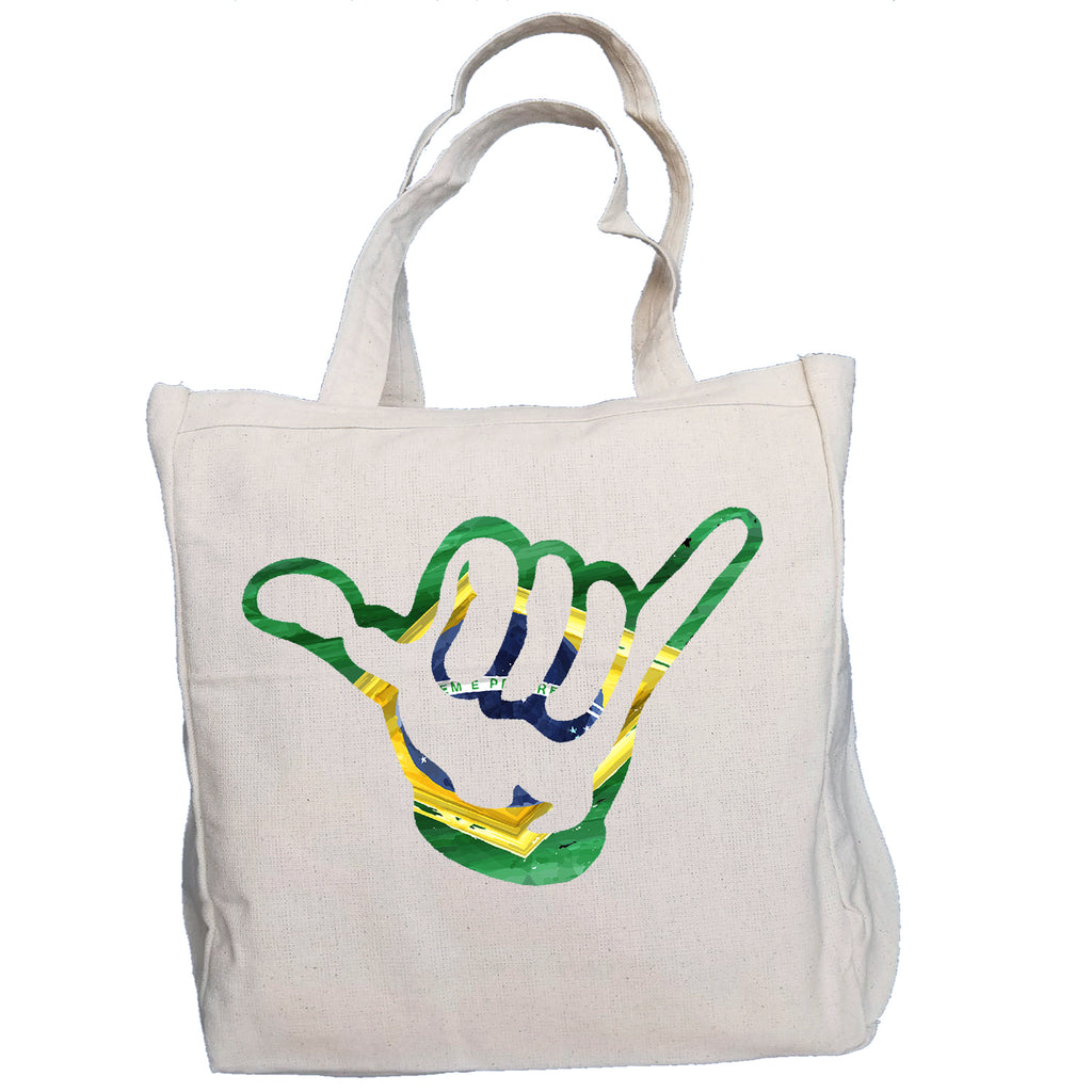 Ink Trendz® Brazil Hang Loose Shaka Surf. Fish. Dive.  10oz. Natural Canvas Cotton Tote
