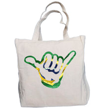 Load image into Gallery viewer, Ink Trendz® Brazil Hang Loose Shaka Surf. Fish. Dive.  10oz. Natural Canvas Cotton Tote