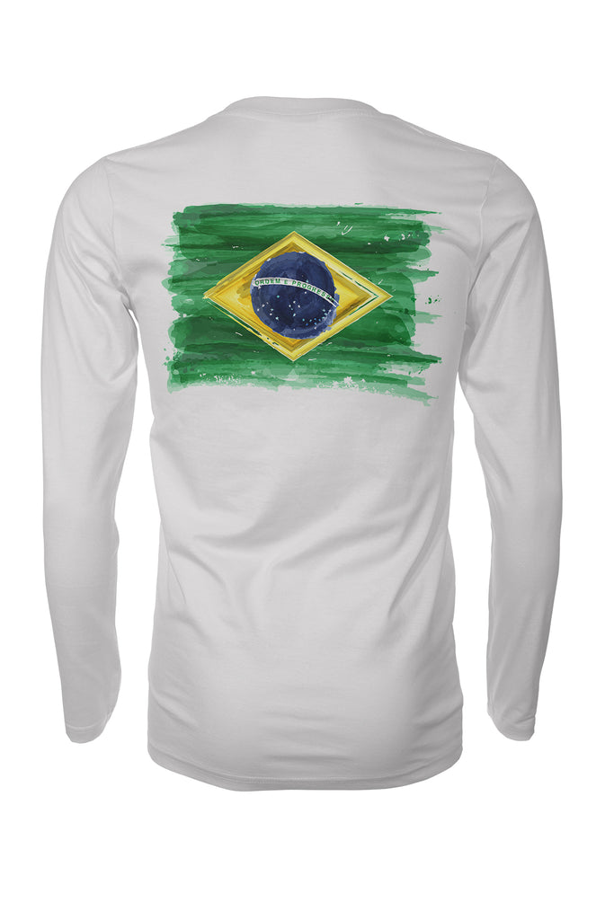Brazil Grunge Flag  Brasil Long Sleeve Performance Surfing UPF50 Rashguard T-Shirt