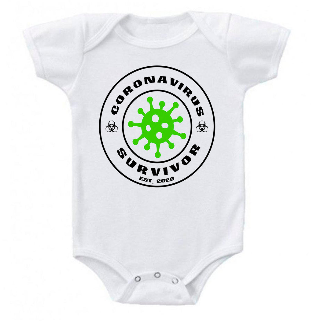 Ink Trendz® Coronavirus Survivor Funny Covid-19  Baby-Toddler One-piece Bodysuit