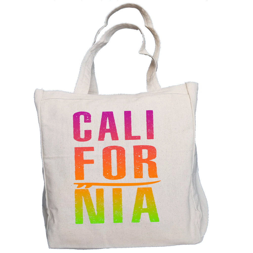 Ink Trendz®  CALIFORNIA Surf Beach Bag 10oz. Natural Canvas Cotton Tote 100% Heavy Duty 10 oz. Cotton Canvas, reusable tote Bag, Surfing tote bag, Beach Bag, California tote
