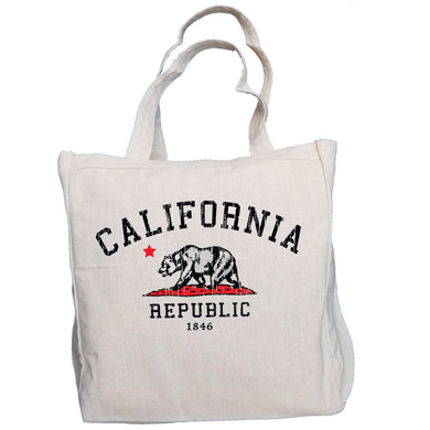 Vintage California Republic Grunge Bear 10oz. Natural Canvas Cotton Tote
