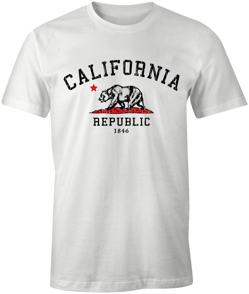 Ink Trendz® California Republic Grunge Bear Cotton T-shirt