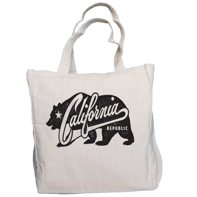 Ink Trendz® California Republic Grunge Bear 10oz. Natural Canvas Cotton Tote bag, reusable grocery Bags
