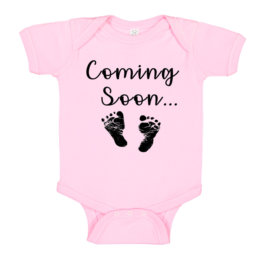 Ink Trendz® Baby Coming Soon Foot Prints Pregnancy Reveal Announcement Baby Romper Bodysuit Media 1 of 13 Pregnancy reveal, baby announcement, baby shower gift Baby Girl