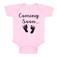 Load image into Gallery viewer, Ink Trendz® Baby Coming Soon Foot Prints Pregnancy Reveal Announcement Baby Romper Bodysuit Media 1 of 13 Pregnancy reveal, baby announcement, baby shower gift Baby Girl